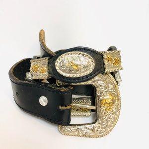 Vintage Leather Western Silver & Gold Detail Belt